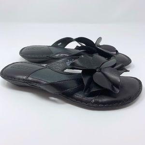 Born Black Leather Flower Flip Flop Sandals 6